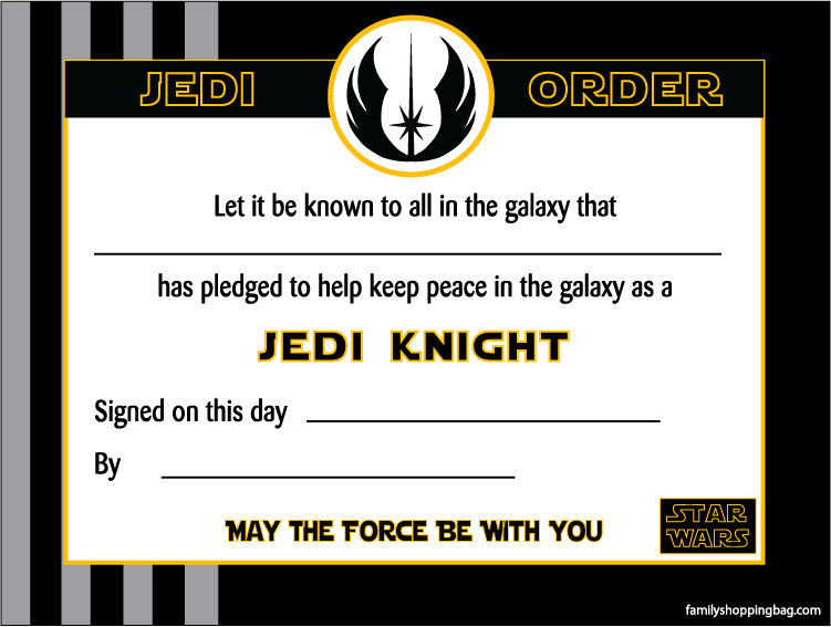 Certificate for Star wars jedi certificate template free