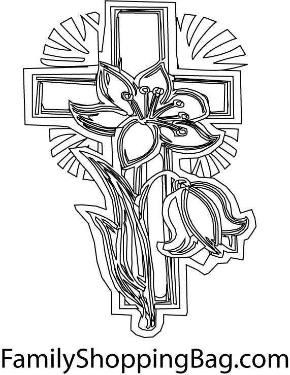 cross coloring page template