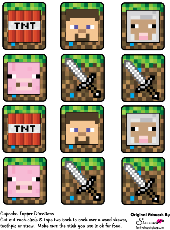 This is a picture of Breathtaking Printable Minecraft Cupcake Toppers