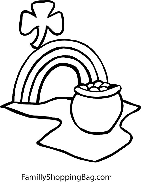 Pot of gold rainbow for Pot of gold with rainbow coloring page
