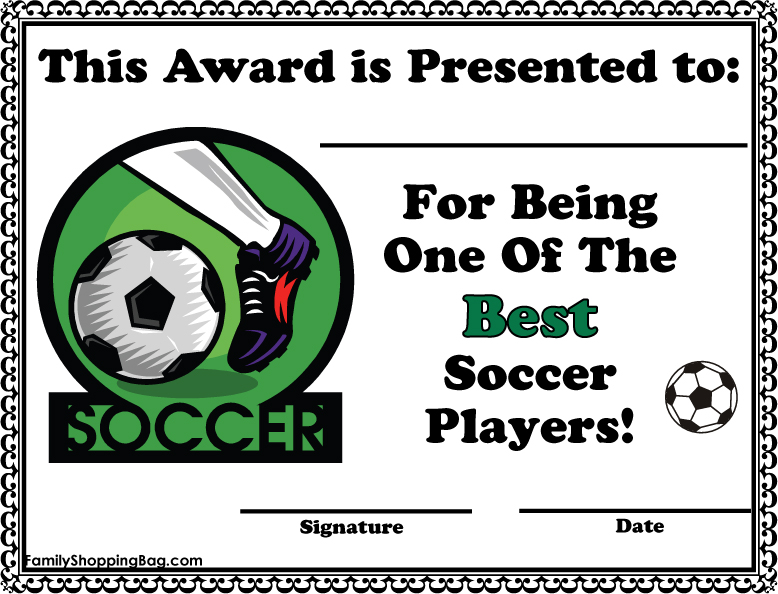 Printable certificates for sports day 9jasports for Soccer award certificate templates free