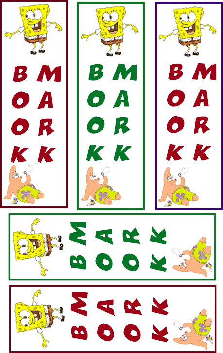 Tags: spongebob squarepants bookmarks