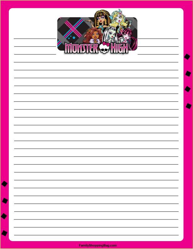 Papel de Carta do Monster High - Atividades Educativas